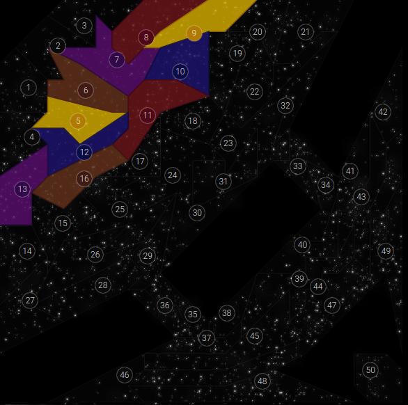 Carte de la galaxie en début de partie